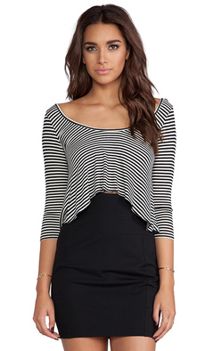 Rachel Pally Rib 3/4 Sleeve Cropped Top in Black
