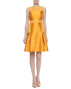 Lace-Trimmed Satin Dress, Marigold   Lace-Trimmed Satin Dress, Marigold