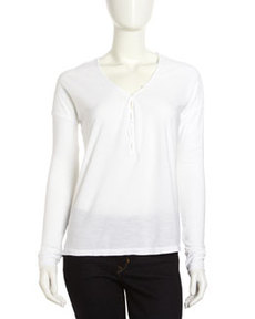 James Perse Button-Front Henley, White