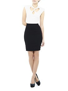 Colorblock Twist Crepe Dress