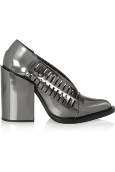 Jil Sander Cutout mirrored-leather pumps