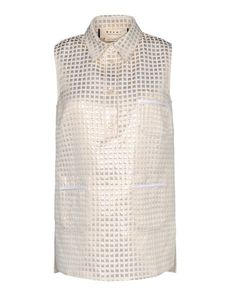 MARNI Jacquard Plain weave Checked design Classic Neckline Two front pockets 4 buttons Side slit hemline Sleeveless Jacquard Plain weave Woven not made of fur Sleeveless