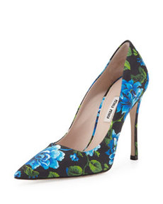 Floral-Print Point-Toe Pump, Blue   Floral-Print Point-Toe Pump, Blue