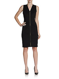Burberry London Stevie Leather-Trimmed Sheath Dress