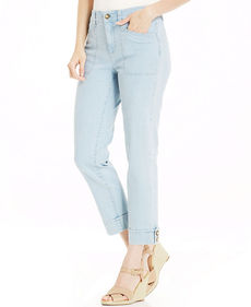 Charter Club Roll-Tab Ankle Jeans, Feather Blue Wash