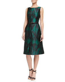 Michael Kors Ankara Ikat Print Pleated Fit-And-Flare Dress, Emerald/Black