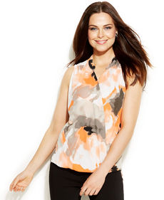 Alfani Petite Sleeveless Printed High-Low Top