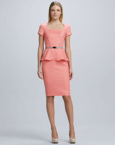 Lafayette 148 New York Short Sleeve Linen Peplum Dress