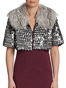 Marc Jacobs Fox Fur Collar Embellished Bed Jacket
