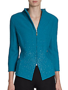 St. John Sequin-Front Three-Quarter Sleeve Zip Jacket