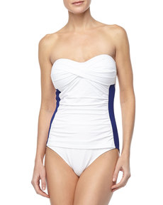 Tommy Bahama Side-Stripe Bandeau One-Piece Swimsuit