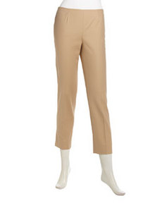 Lafayette 148 New York Cropped Pocket-Free Ankle Pants, Birch