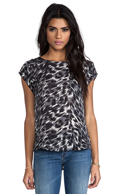 Joie Rancher Animal Print Top in Charcoal