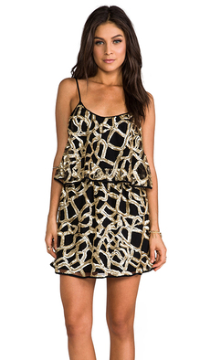 T-Bags LosAngeles Webbed Dress in Metallic Gold
