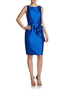 Carmen Marc Valvo Ruffle-Front Dress
