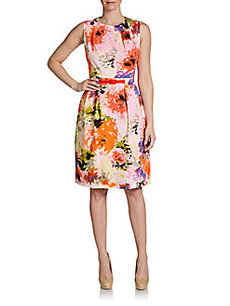 David Meister Belted Abstract Floral-Print Dress