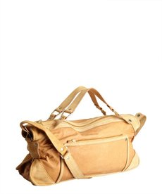 Celine tan leather and suede large shoulder bag