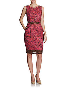 Carmen Marc Valvo Tweed Lace-Trim Dress