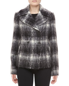 Michael Kors Mohair Plaid Double-Breasted Jacket, Black/Ivory