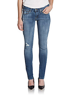 Saks Fifth Avenue GRAY Distressed Skinny Jeans