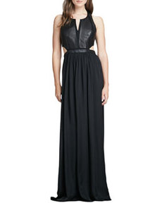 Leather-Panel Cutout Gown   Leather-Panel Cutout Gown