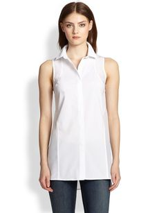 Saks Fifth Avenue Collection Cotton Combo Blouse