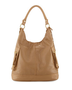 Linea Pelle Dylan Perforated Leather Hobo Bag, Nougat