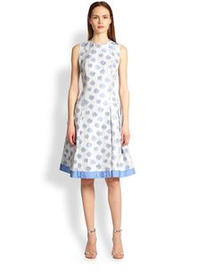 Carmen Marc Valvo Dot Shantung Dress