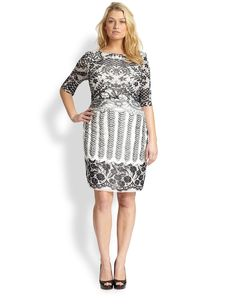 Kay Unger, Sizes 14-24 Lace-Print Mesh Dress