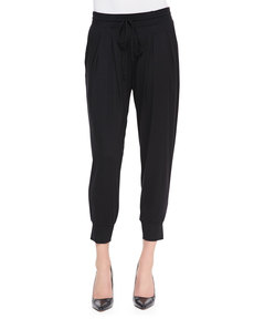 Three Dots Pleated Capri Pants with Pockets, Black
