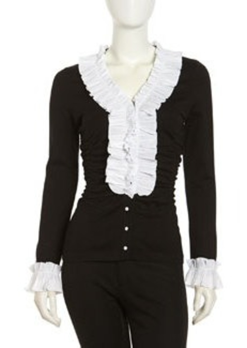 Go Silk Silk-Knit Ruffle Cardigan, Black/White