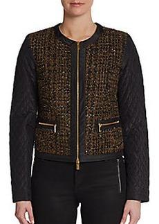 Michael Kors Quilted-Sleeve Tweed Jacket