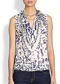 Diane von Furstenberg Amya Printed Silk Embellished Cowlneck Top