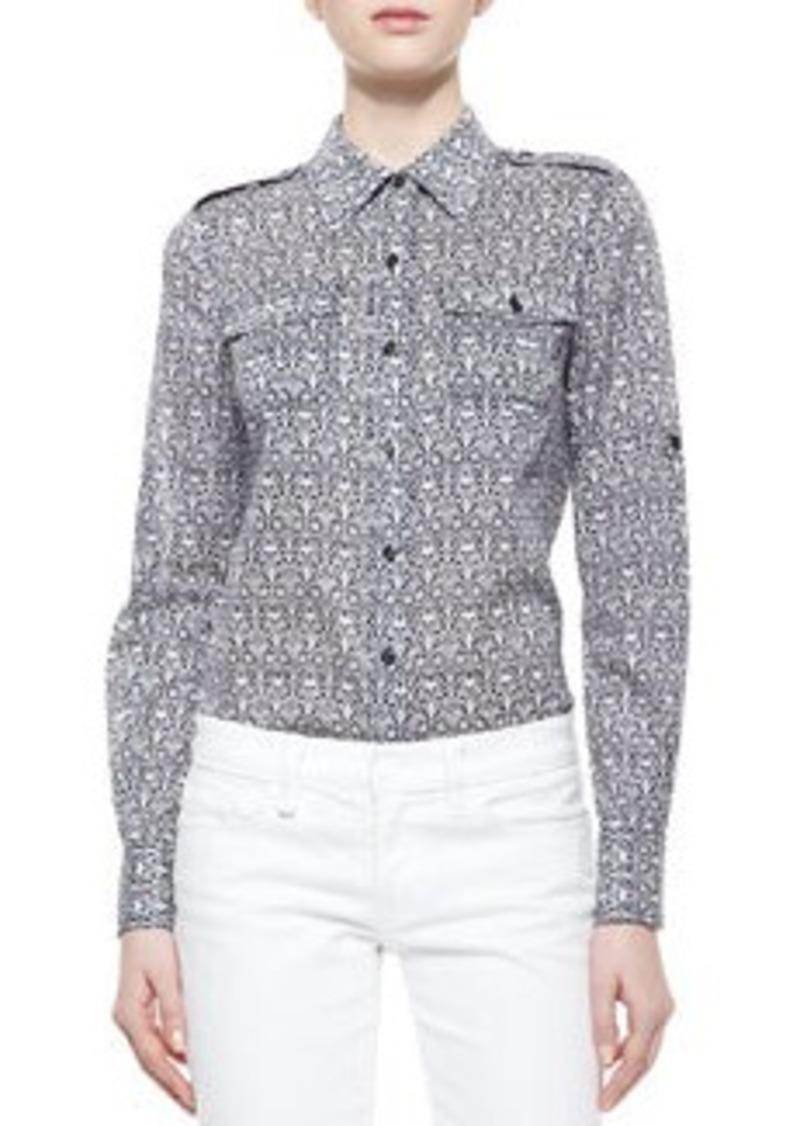 Tory burch tory burch brigitte printed button down blouse for Tory burch button down shirt