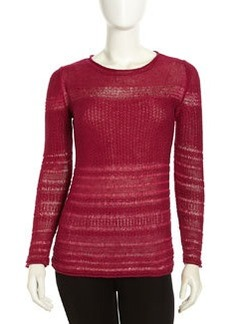Lafayette 148 New York Pullover Mix-Knit Linen Sweater, Wild Berry