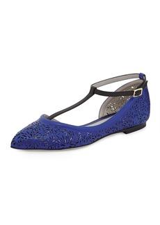 Jason Wu Laser-Cut Ankle-Strap Flat, Blue