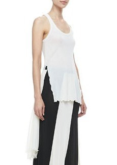 Jean Paul Gaultier Sheer High-Low Solid Tank, Cream