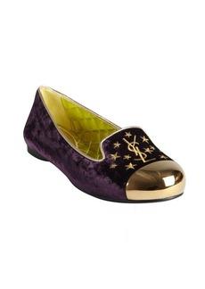 Yves Saint Laurent plum velvet and lime silk cap toe flats