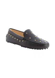 Tod's black leather gold stud moc toe loafers
