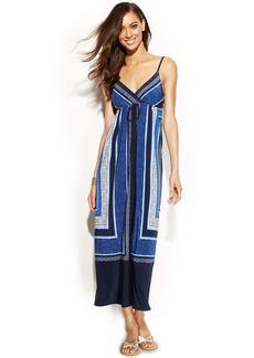 INC International Concepts Petite Surplice-Neck Printed Maxi Dress
