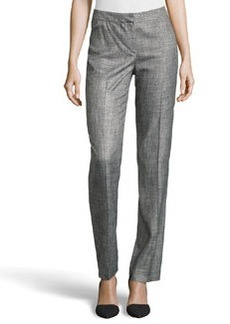Lafayette 148 New York Quest Straight-Leg Knit Suiting Pants, Black Multi