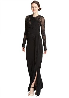 A.B.S. by Allen Schwartz black stretch sequin embroidered long sleeve illusion gown