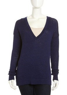 Robert Rodriguez Open-Knit V-Neck Pullover Sweater, Ink