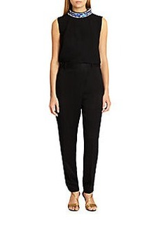 3.1 Phillip Lim Beaded-Neck Crossover-Front Jumpsuit