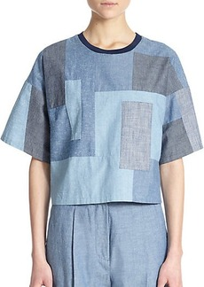 3.1 Phillip Lim Boxy Cotton Chambray Patchwork Top