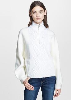 3.1 Phillip Lim Cable Knit & Felt Turtleneck Sweater