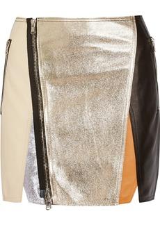3.1 Phillip Lim Color-block leather mini skirt
