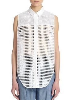 3.1 Phillip Lim Cotton Eyelet Sleeveless Shirt