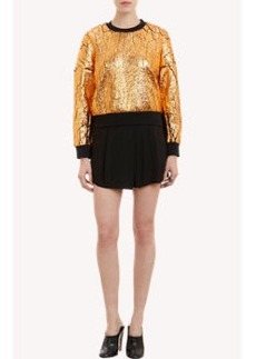 3.1 Phillip Lim Crackled Metallic Fabric Sweatshirt