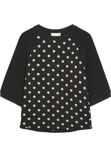 3.1 Phillip Lim Crepe and polka-dot cotton-jersey top